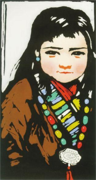 中学生手绘藏族姑娘