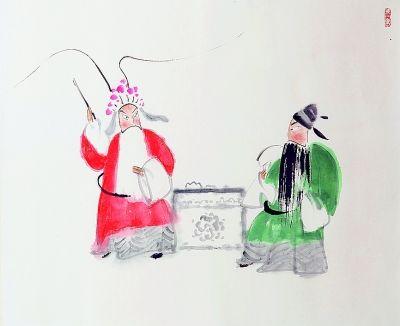 珠帘寨(中国画·局部)