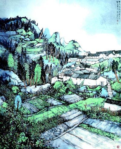 曲溪乡的村庄(中国画) 林容生