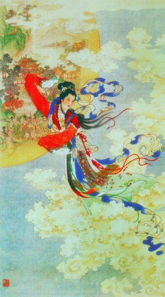 嫦娥奔月(中国画) 任率英-艺火薪传
