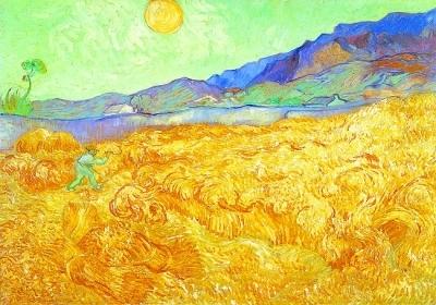 梵高油画《阳光下的麦田收割者》