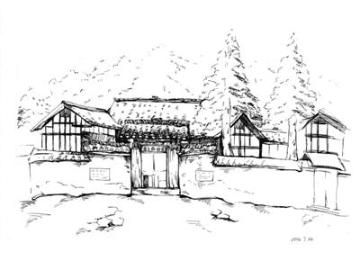 乡间房屋黑白手绘