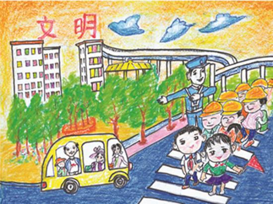 法制儿童画图片-图说我们的价值观 少儿绘画在天津和平区巡展