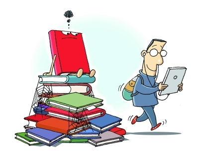 漫画:读点书吧 CFP   阅读过程能促进理性思维的发展。读书获得的乐趣也不是其他方式所能替代的。对远方怀有冲动的人,不妨从认真读一本书开始,来抓住那些从视觉中溜走的东西。   今年4月23日是第20个世界读书日。在这个日子里,我们看到的是我国不容乐观的国民阅读情况。根据4月20日公布的第十二次全国国民 阅读调查,2014年我国成年国民人均纸质图书的阅读量为4.